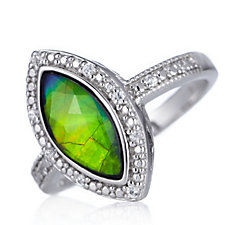 626317 - Canadian Ammolite Triplet & White Sapphire Marquise Cut Ring Sterling Silver