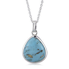 631817 - Chinese Turquoise Pear Pendant & 45cm Chain Sterling Silver