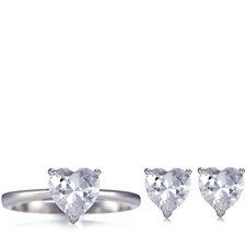 Diamonique 3.5ct tw Earring & Ring Set in Rose Gift Box Sterling Silver
