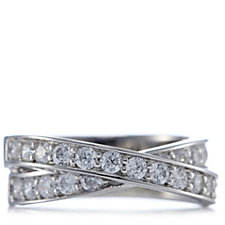 Epiphany Platinum Clad Diamonique 1.25ct tw Cross Ring Sterling Silver