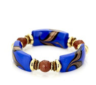 Murano Glass Curved Bead Stretch Bracelet