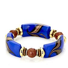Murano Glass Curved Bead Stretch Bracelet