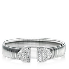 Diamonique 1.56ct tw Pave Cuff Stainless Steel & Sterling Silver