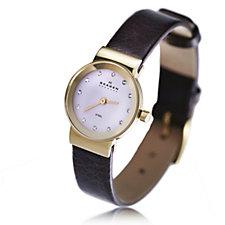 Skagen Ladies Crystal Dial Brown Leather Strap Watch