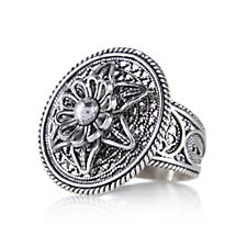 Ottoman Filigree Flower Ring Sterling Silver