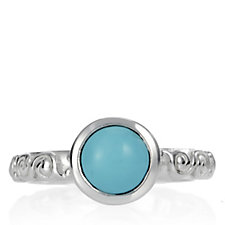 Sleeping Beauty Turquoise Floral Band Ring Sterling Silver