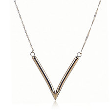 9ct Gold V Tube Bar 43cm Necklace