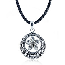 Suarti Collection Flower Pendant & Leather Cord Sterling Silver