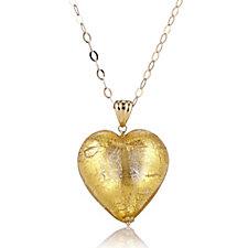 Murano Glass Heart Pendant & 60cm Chain Sterling Silver