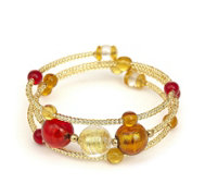 Murano Glass Foiled Bead Wrap Bracelet
