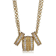 Diamonique Veronese 0.7ct tw 18ct Gold Plated Rings Necklace Sterling Silver