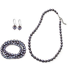 Honora Cultured Pearl Necklace Earrings & 3 Bracelets Set Sterling Silver