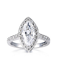 Diamonique 2.4ct tw Marquise Halo Ring Sterling Silver