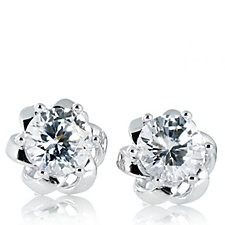 Epiphany Platinum Clad Diamonique 2ct tw Floral Stud Earrings Sterling Silver