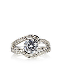 Diamonique 2ct tw Pave Edge Solitaire Ring Sterling Silver