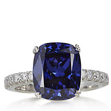 Diamonique 6.3ct tw Large Cushion Cut Ring Sterling Silver