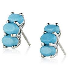 Sleeping Beauty Turquoise 3 Stone Stud Earrings Sterling Silver
