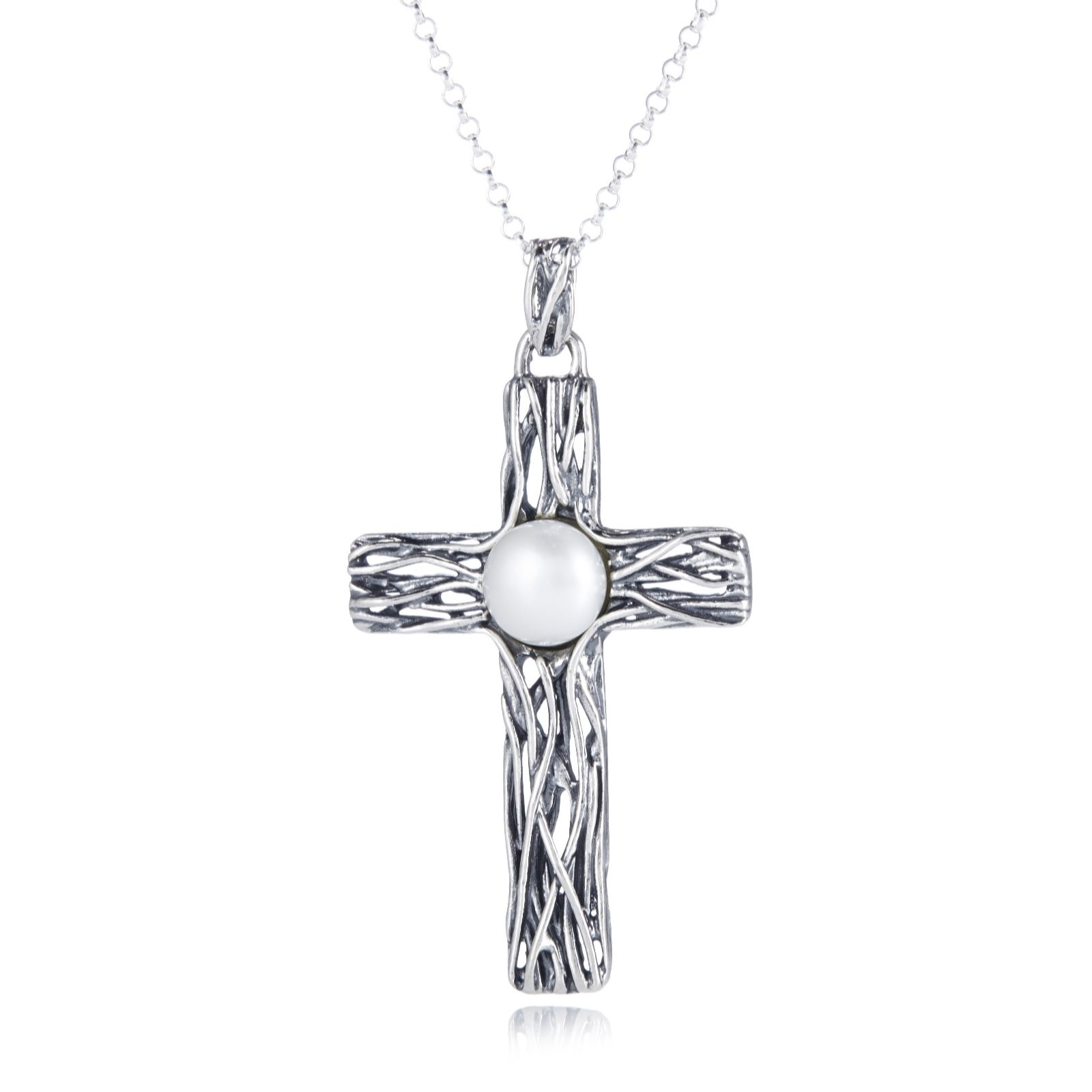 Or Paz Textured Pearl Cross & 45cm Chain Sterling Silver