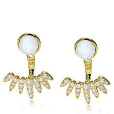664922 - Diamonique 3ct tw Opal Ear Jacket Earring Sterling Silver