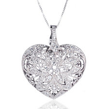 Diamonique 1.4ct tw Vintage Puff Heart Pendant & 80cm Chain Sterling Silver