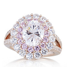 Diamonique 5.1ct tw Pink & White Halo Ring Rose Gold Plated Sterling Silver