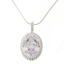 Diamonique 16.6ct tw Oval Cluster Pendant and Chain Sterling Silver