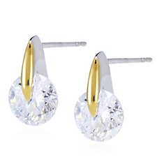 Diamonique 2.2ct tw Round Cut Tension Set Stud Earrings Sterling Silver