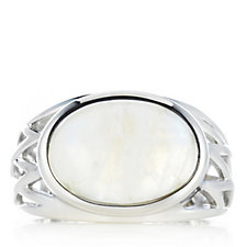 Moonstone Open Band Work Ring Sterling Silver