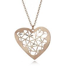 Veronese Wirewrap Open Heart Pendant & 50cm Chain Sterling Silver