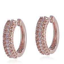 Diamonique 1.4ct tw Simulated Champagne Diamond Huggie Earrings Sterling Silver