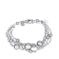 Bianca Platinum Plated Multi Row 19cm Bracelet Sterling Silver