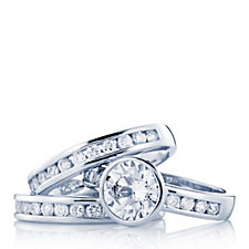 Epiphany Platinum Clad Diamonique 2.9ct tw Set of 3 Rings Sterling Silver