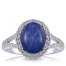 Diamonique 0.3ct tw Simulated Star Sapphire Halo Ring Sterling Silver