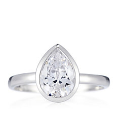 Diamonique 2ct tw Pear Cut Bezel Solitaire Ring Sterling Silver