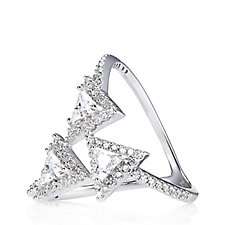 Diamonique Couture 1.1ct tw Triangle Open Work Ring Sterling Silver