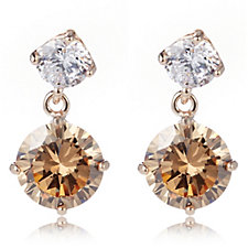 Diamonique 5ct tw Round Double Drop Earrings Sterling Silver