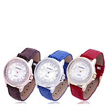 Gossip Set of 3 Mother of Pearl Crystal Dial Watches