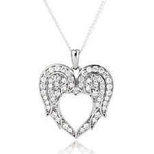 Diamonique by Andrea McLean 0.5ct tw Heart Pendant & Chain Sterling Silver