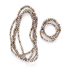 Honora 6-7mm Baroque Pearl 163cm Necklace & Set of 3 19cm Bracelet Set