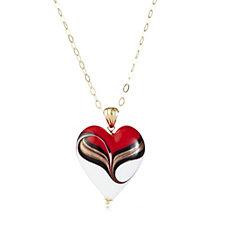 Murano Glass Peacock Heart Pendant & 60cm Necklace Sterling Silver
