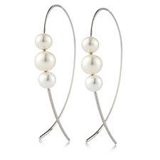 Honora 5-7mm Cultured Pearl Wire Hoop Earrings Stainless Steel