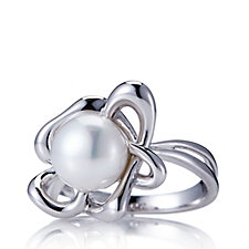 Honora 9-9.5mm Cultured Button Pearl Flower Ring Sterling Silver