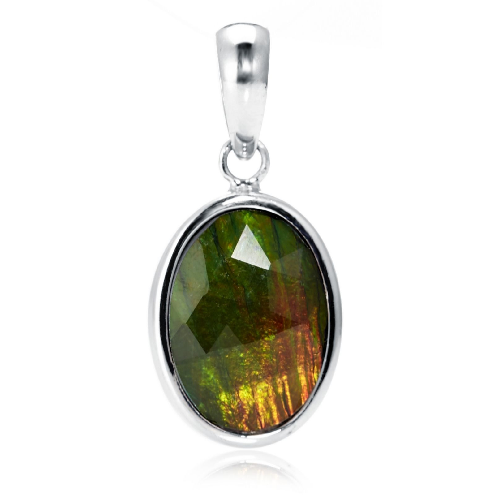 Canadian Ammolite & Jade 2 Faced Pendant Sterling Silver