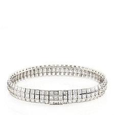 Diamonique by Tova 17ct tw Princess Cut 19cm Bracelet Sterling Silver