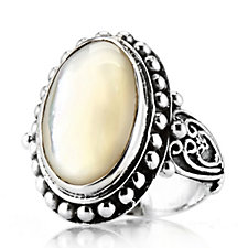 Suarti Collection Mother of Pearl Oval Beaded Ring Sterling Silver