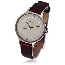 Skagen Ladies Crystal Leather Strap Watch