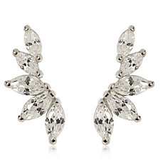 Diamonique 1.3ct Marquise Cut Earclimber Earrings Sterling Silver