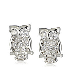 Diamonique 0.75ct tw Owl Stud Earrings Sterling Silver