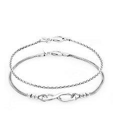 Bianca Platinum Plated Set of 2 Infinity 19cm Bracelets Sterling Silver