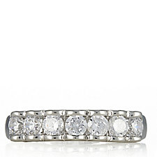 Diamonique 0.7ct tw 7 Stone Half Eternity Ring Sterling Silver